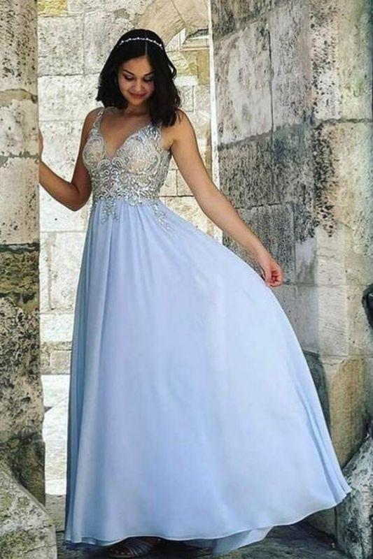 Stylish V-Neck A-line Evening Dress 3D Lace Sleeveless Chiffon Formal Dress Floor Length