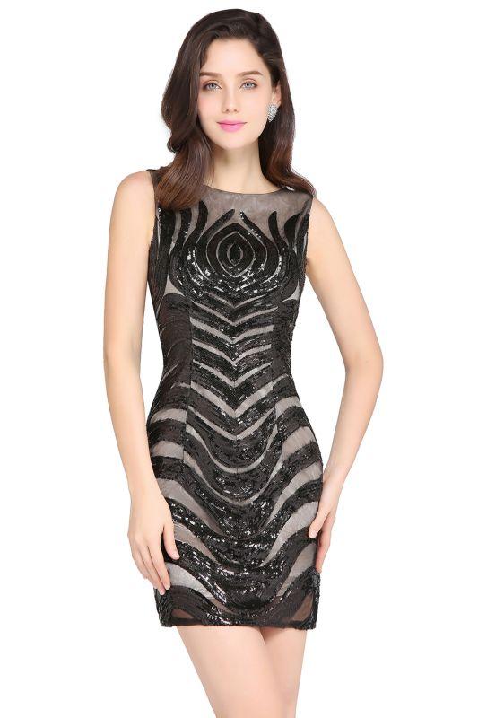 AMALIA   Sheath Short Black Sexy Cocktail Dresses