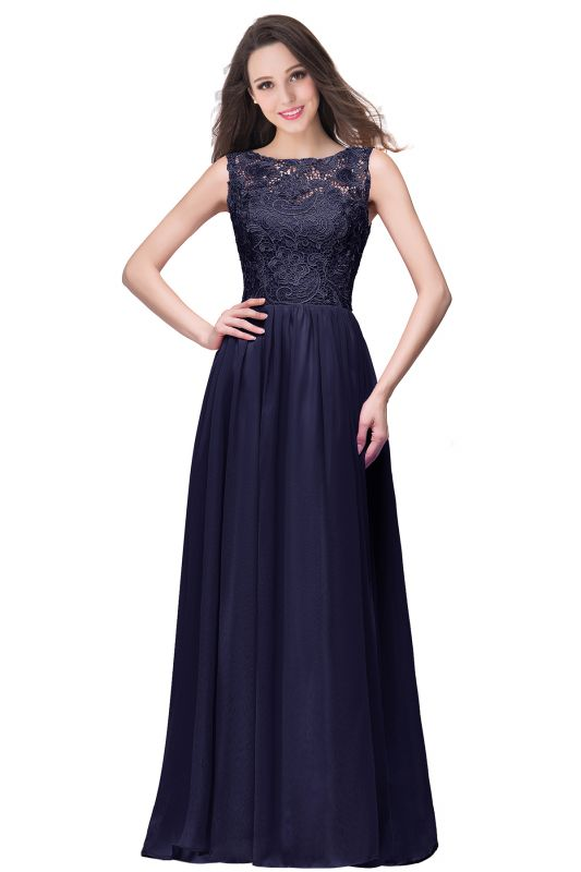 ELYSE | A-line Sleeveless Crew Floor-length Lace Top Chiffon Prom Dresses
