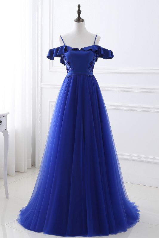 CHANEL | Ball Gown Off-the-shoulder Floor-length Blue Tulle Prom Dress