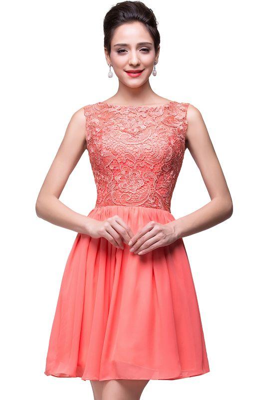 ELIANA | A-line Short Sleeveless Bateau Chiffon Ruffles Lace Top Prom Dresses