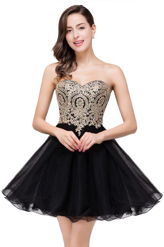 Gabriela | A Line Lace Appliques Sweetheart Short Prom Dresses