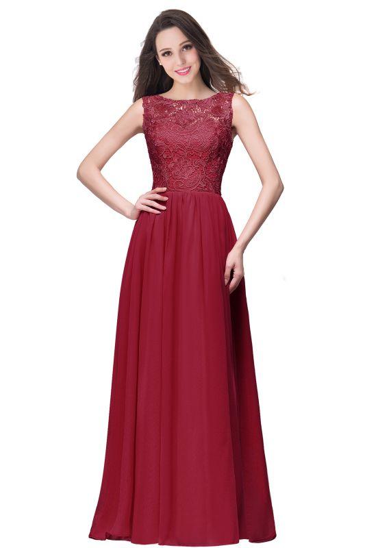 ELYSE | A-line Sleeveless Crew Floor-length Lace Top Chiffon Prom Dresses