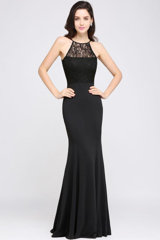 CHERISH | Mermaid Halter Floor-length Chiffon Black Prom Dress