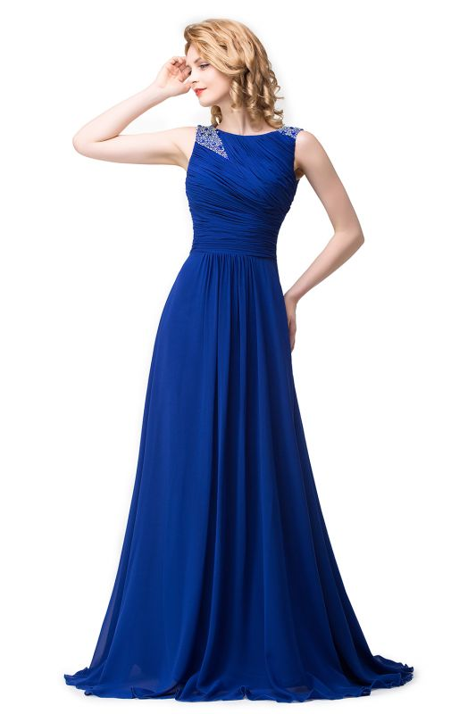 ESMERALDA | A-line Sleeveless Crew Floor-Length Chiffon Prom Dresses with Crystals