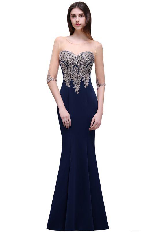 BELLA | Sheath Round Neck Floor-Length Burgundy Prom Dresses With Applique