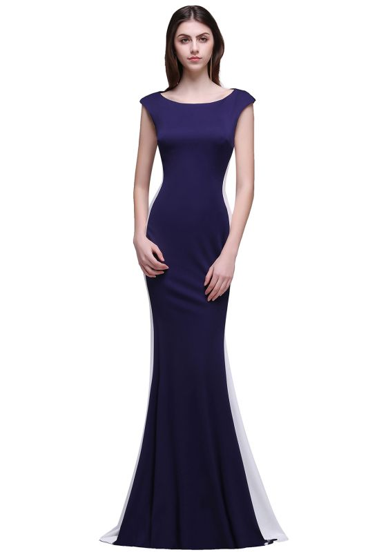 BLAKE | Sheath Scoop Floor-Length Dark Navy Evening Dresses