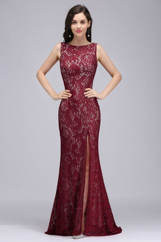 DULCE | Mermaid Crew Floor-length Sleeveless Burgundy Lace Prom Dresses