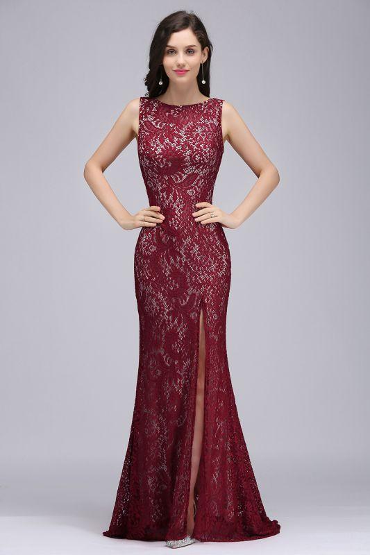 DULCE | Mermaid Crew Floor-length Sleeveless Burgundy Lace Prom Dresses