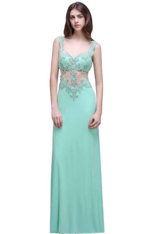 BARBARA | Sheath Straps Floor-Length Mint Green Prom Dresses With Pearls