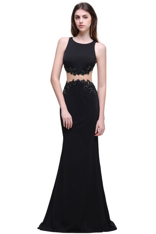 BLAKELY | Sheath Round Neck Floor-Length Black Prom Dresses With Crystal