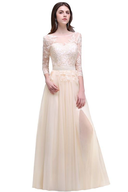 AUBREY | A-line Scoop Champagne Prom Dress With Sleeve