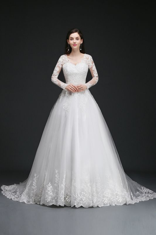 Newest Wedding Dress.Amaya Ball Gown V Neck Tulle Newest Wedding Dresses With Lace