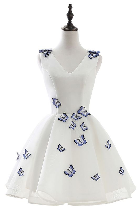 Custom Made A-line Cute White Short Homecoming Dresses With Butterfly