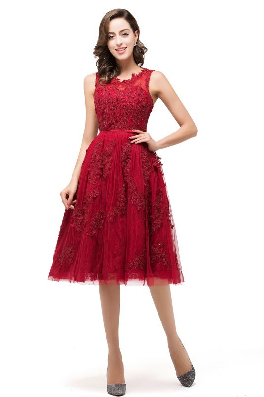 ADELINE | A-line Short Tulle Evening Dress with Appliques