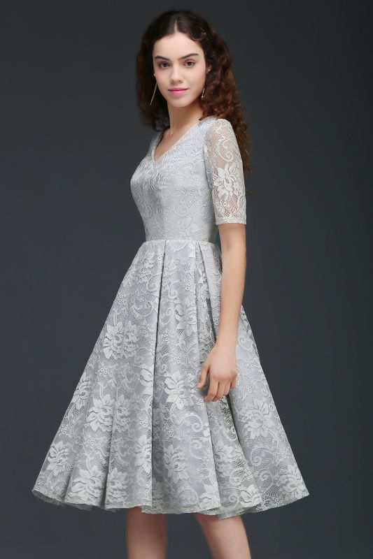 098ce514c0e79 ALEXANDRA | A Line V Neck Lace Short Homecoming Dresses With Sleeves ...