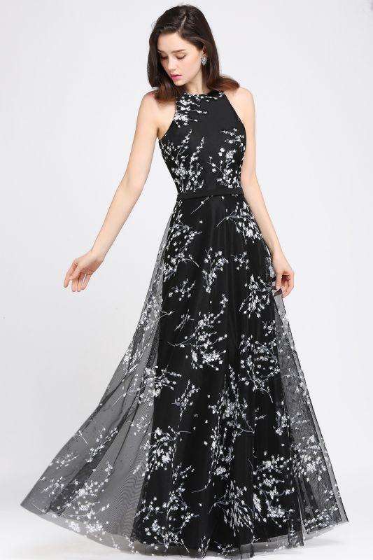 ALYSSA | A-line Floor Length Black Evening Dresses with Flowers