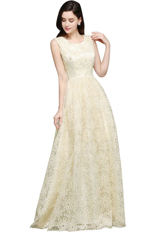 AYA | A-line Scoop Floor Length Evening Dress With Lace