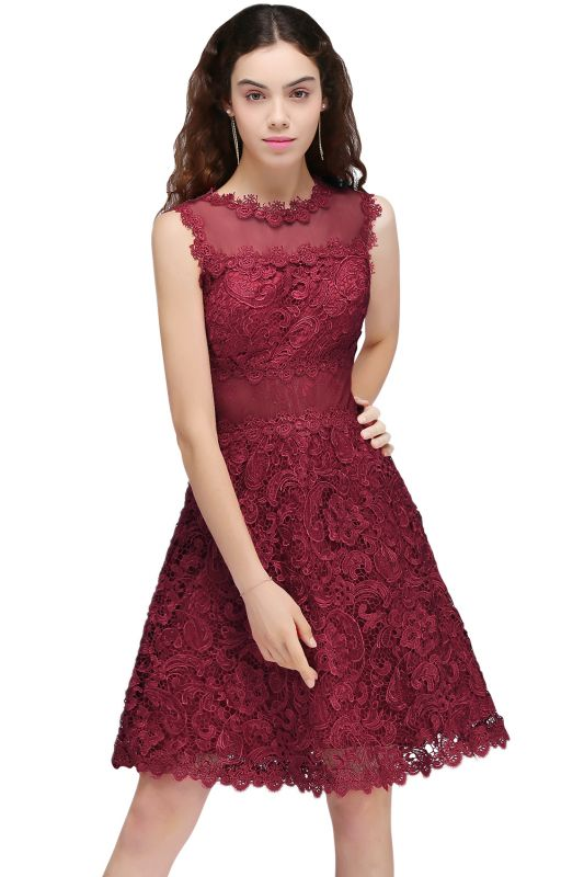 BRIA | A-Line Round Neck Short Burgundy Lace Homecoming Dresses