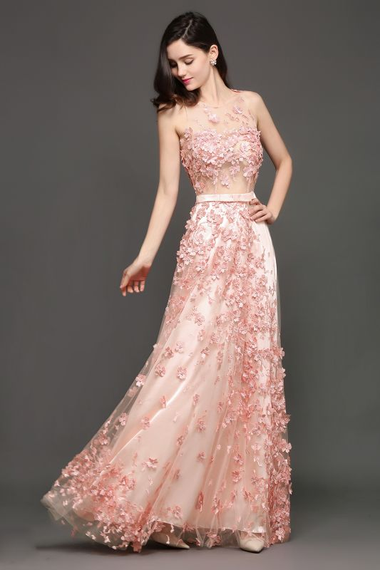 ALLY | A-line Floor Length Pearl Pink Evening Dresses with Appliques