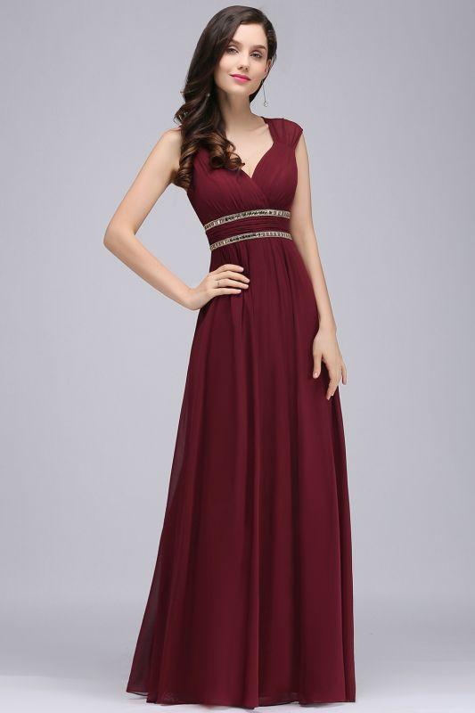 ALISON | Sheath V Neck Burgundy Chiffon Long Evening Dresses With Beads