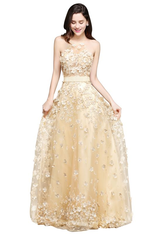 ALIYAH | A-line Floor Length Champagne Evening Dresses with Appliques