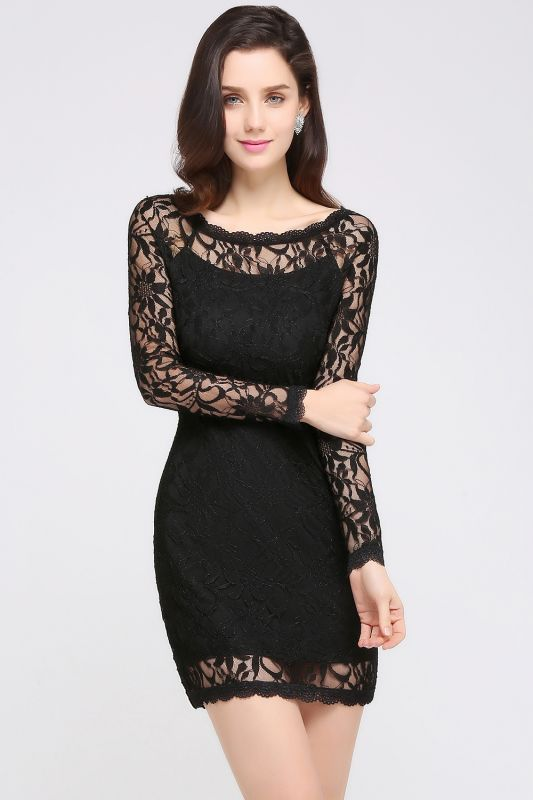 Sexy Black Lace Long Sleeves Mermaid Prom Dresses