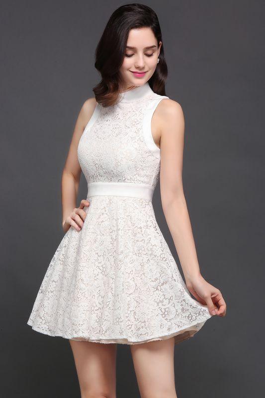 Mini vestidos en existencia lindos de noche de una línea Vestidos de fiesta cortos de cuello alto
