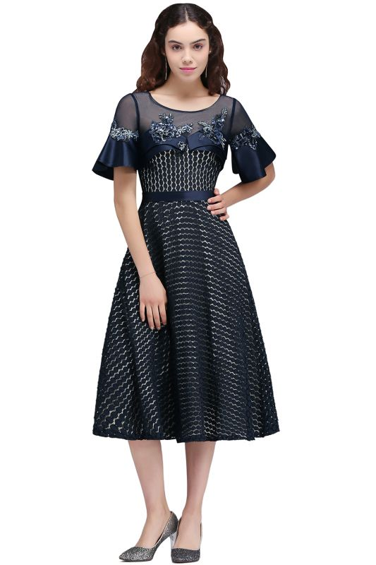 BRIELLA | A-Line Round Neck Tea-Length Dark Navy Homecoming Dresses With Applique