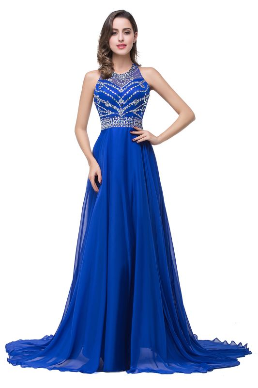 ELLA   A-line Crew Floor-length Sleeveless Tulle Prom Dresses with Crystal Beads