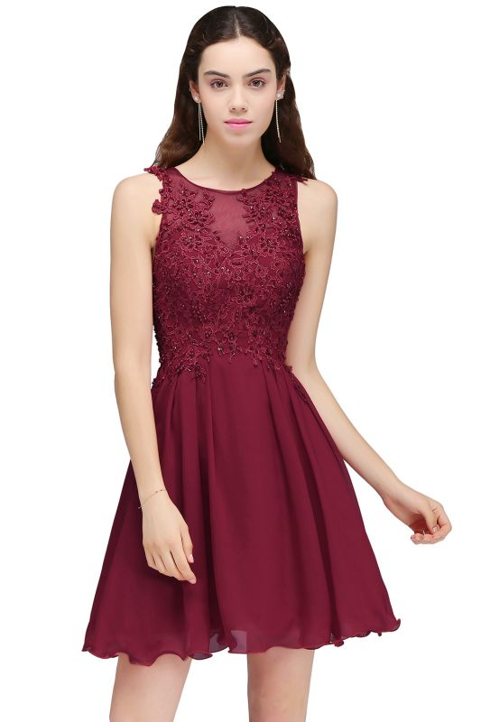 CARLEE | A-line Jewel Short Chiffon Burgundy Homecoming Dresses with Lace Appliques