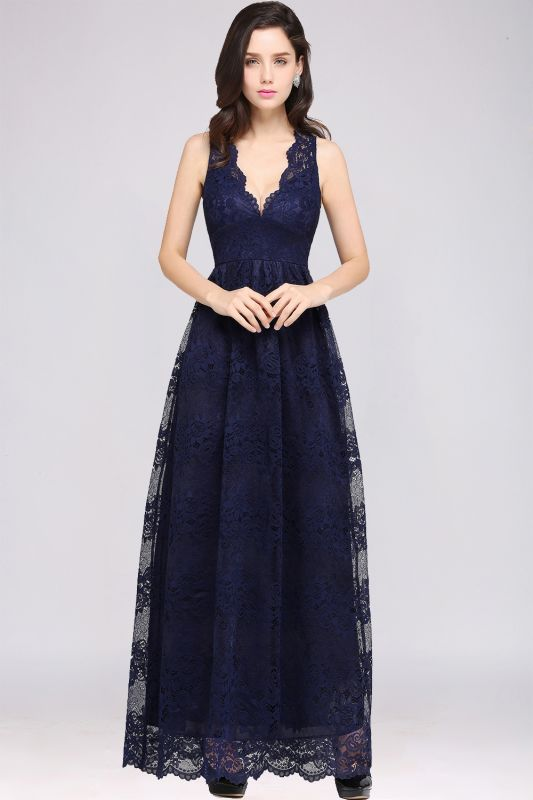 CHAYA | Sheath V-neck Floor-length Lace Navy Blue Prom Dress