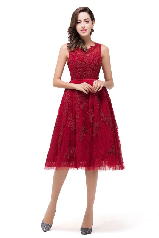 DANA | A-Line Knee-Length Red Lace Tull Prom Dresses with sequins