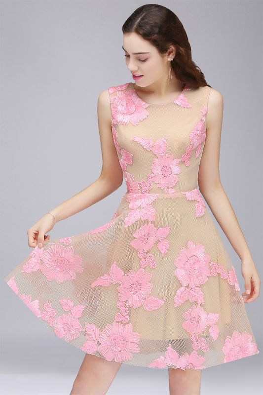 CORDELIA | Princess Knee-length Tulle Homecoming Dress with Pink Lace Appliques
