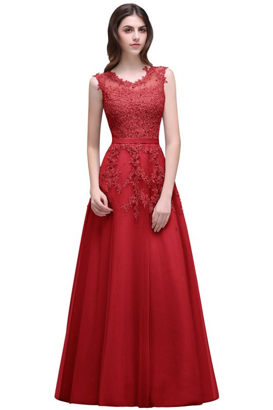 Red A-line Beaded Long Bateau-Neck Lace Party Dresses