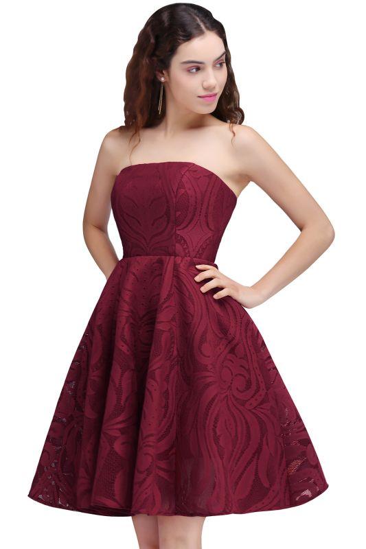 BRENNA | A-Line Strapless Burgundy Homecoming Dresses