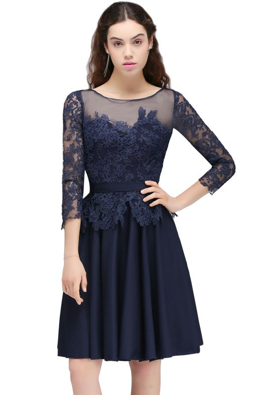 CARA | A-line Sheer Neck Short Dark Navy Homecoming Dresses with Lace Appliques