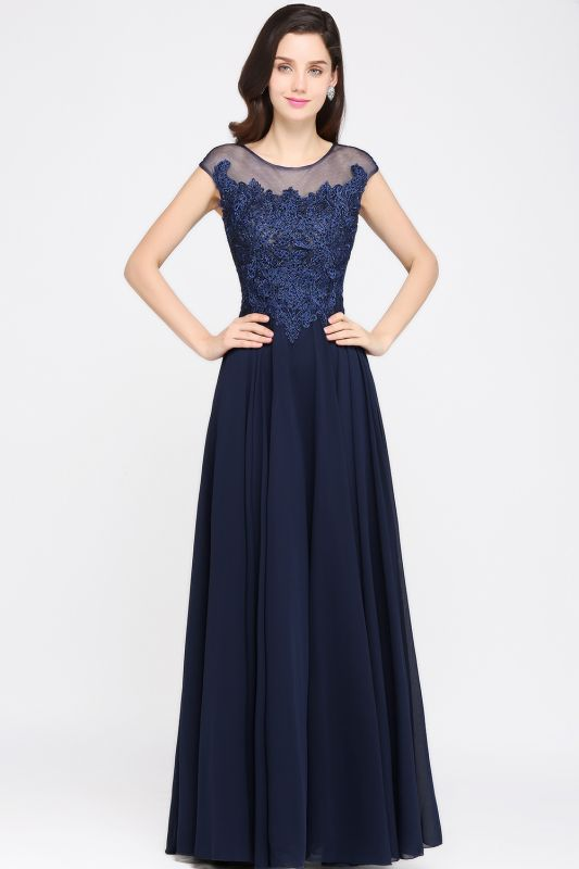 AVALYN   A-line Scoop Navy Chiffon Prom Dress With Appliques