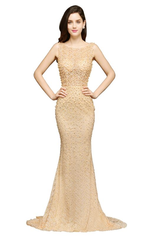 ALLIE | Mermaid Scoop Sweep Train Champagne Evening Dresses with Beadings