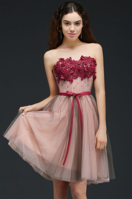 CLAUDIA | Princess Strapless Knee-length Tulle Homecoming Dress with a Self-tie Belt