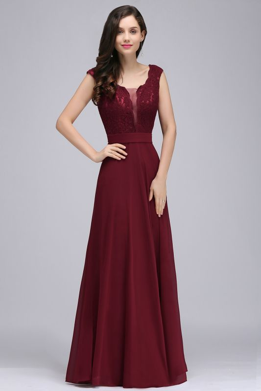 CORINNE | A-line Floor-length Lace Burgundy Elegant Prom Dress
