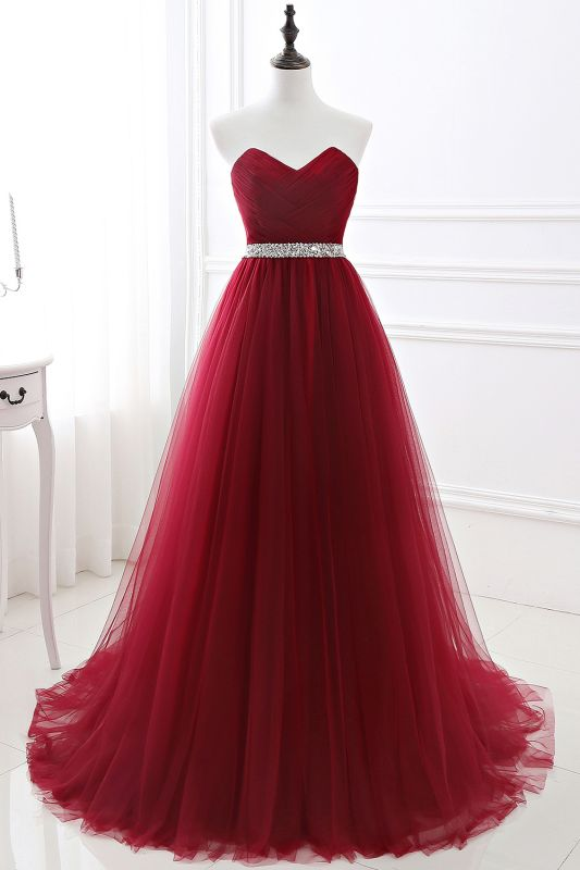 Custom Made Fluffy Tulle A-line Sweetheart Burgundy Prom Dresses Cheap With Beads Belt