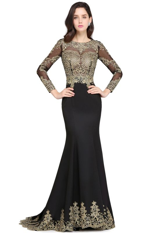 AMANDA | Mermaid Scoop Floor Length Black Elegant Evening Dresses with Appliques