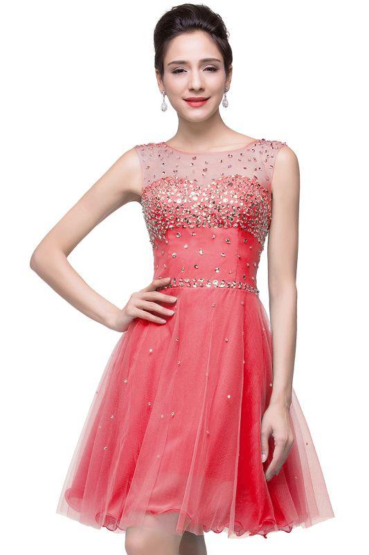Sleeveless Open-Back Short Crystal Homecoming Dresses