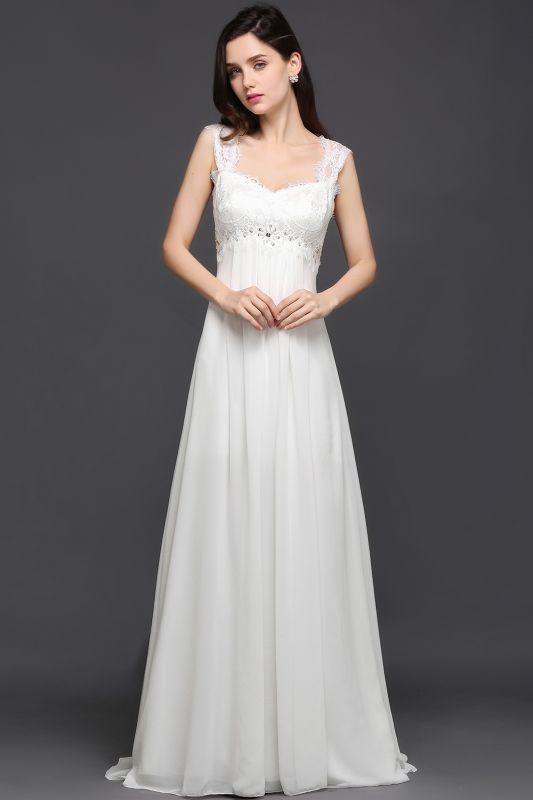 AYLA | A-line Sweetheart Chiffon White Evening Dress With Lace