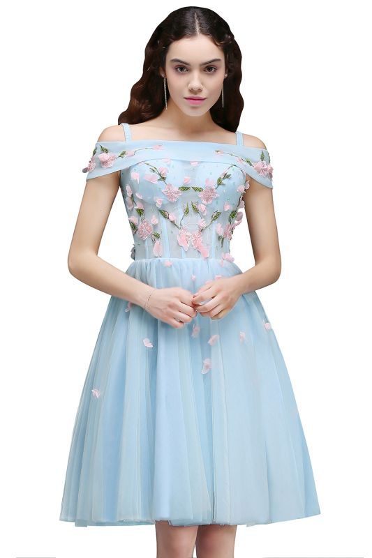 ANGELINE | A-line Short Cute Homecoming Dress Flowers