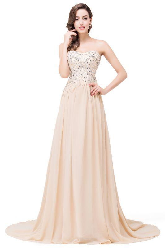 FAITH | A-Line Sweetheart Floor-Length Sleeveless Chiffon Prom Dresses with Crystals