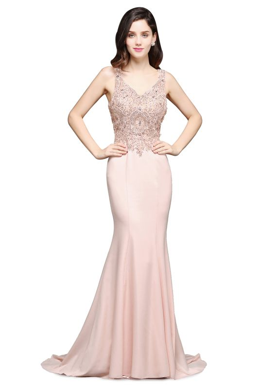 ALLYSON   Mermaid V-Neck Pearl Pink Prom Dresses with Beads