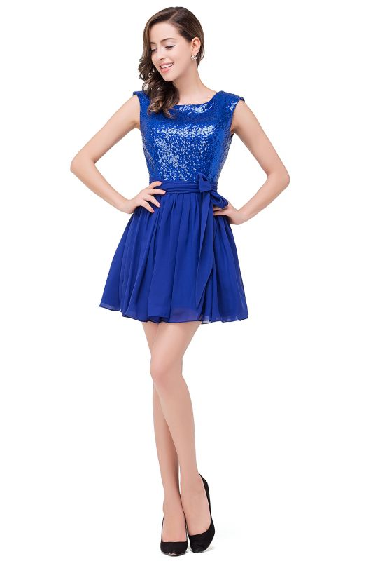 EMERSYN | A-Line Sleeveless Sequins Chiffon Short Prom Dresses