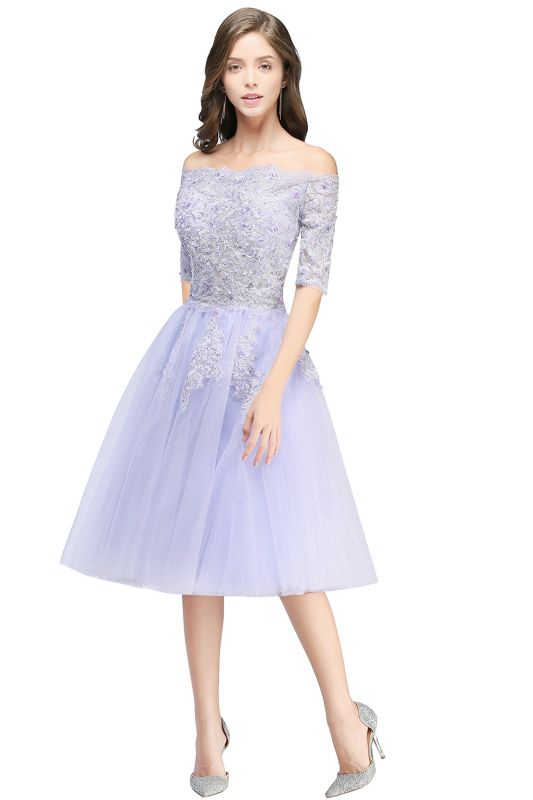 ADILYNN | A-line Bateau Tulle Prom Dress with Appliques